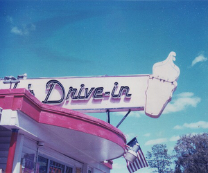 drive in, pink, and vintage image