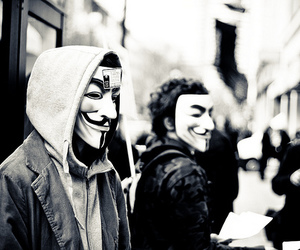 anonymous, black and white, and mask image