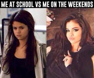 selena gomez, school, and weekend image