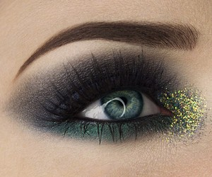 girl, glam, and green eyes image