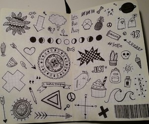 black&white, cool, and doodle image