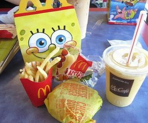 food, McDonalds, and spongebob image