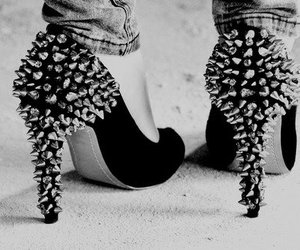 high heel, shoes, and studs image