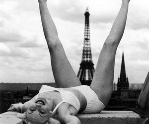 b&w, eiffel tower, and paris image
