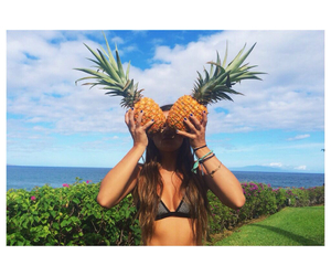 pineapple, summer, and girl image