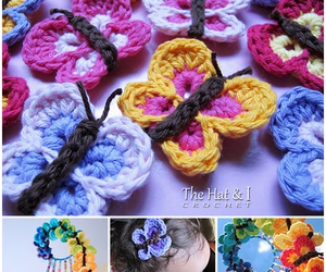 butterfly, crafts, and crochet image