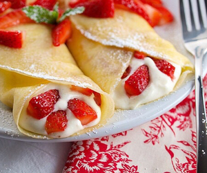 strawberry, food, and pancakes image