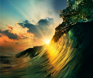 sun, waves, and sea image