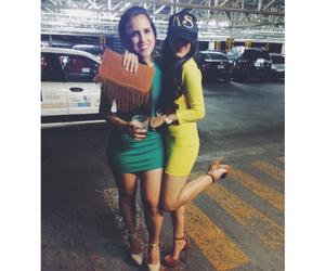 brunette, dress, and friendship image