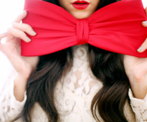 red, bow, and hair image