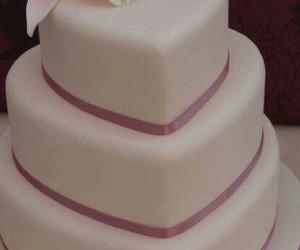 cake, pink, and wedding image