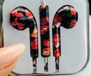 flowers, music, and headphones image