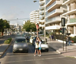 Cheerleaders and google street view image