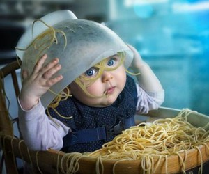 baby and spaghetti image
