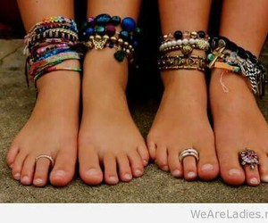 feet, summer, and bracelet image