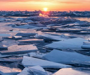 sunset, ice, and nature image