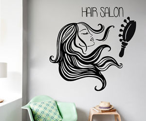 Fashion girls, hair salon, and wall vinyl decals image