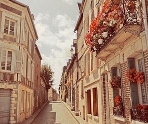street, flowers, and vintage image