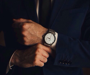 man, suit, and watch image