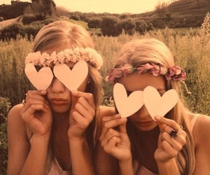 best friends, love hearts, and girls image