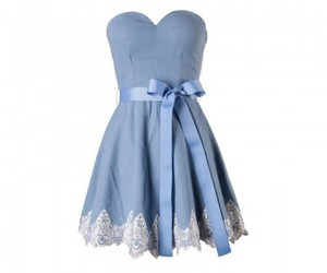 blue, dress, and sweetheart neckline image