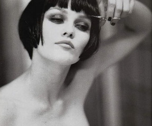 vanessa paradis, black and white, and hair image