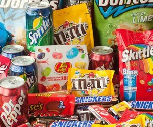 food, junk food, and skittles image