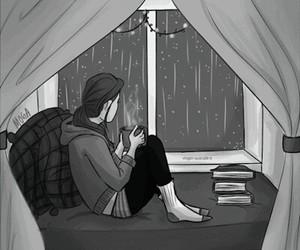 rain, book, and gif image