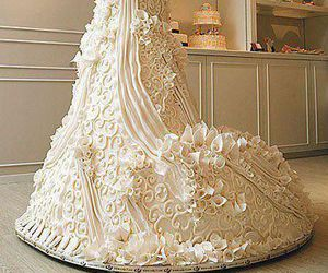 cake, wedding, and dress image