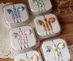 headphones, iphone, and earphones image