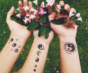 flowers, tattoo, and friends image