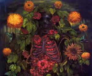 art, skeleton, and flowers image