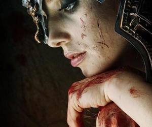 warrior, woman, and blood image