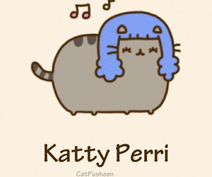 pusheen, katy perry, and cat image