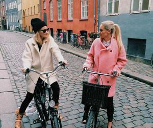 friends, girl, and bike image