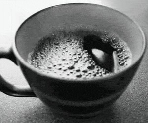 coffee, gif, and black and white image