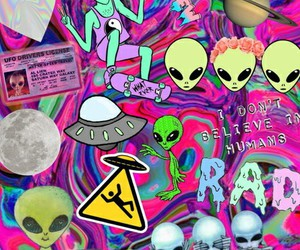 alien, wallpaper, and pizza image