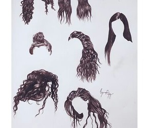 draw, hair, and music image
