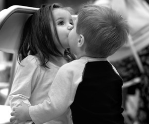 love, kiss, and child image
