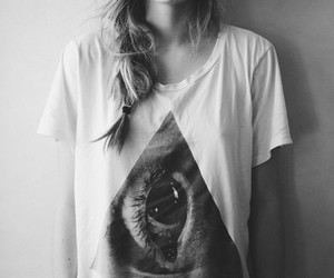 girl, eye, and black and white image