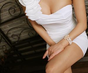 beautiful, girl, and white image