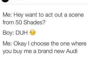 audi, fifty shades of grey, and funny image