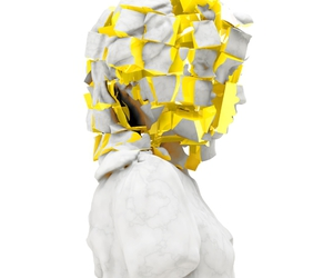 sculpture, white, and yellow image