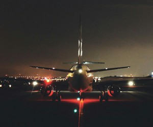 plane, night, and airplane image