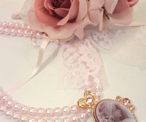 cameo, necklace, and pink image