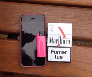 cigarette, iphone, and pink image