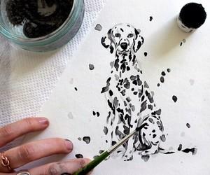 art, dog, and dalmatian image