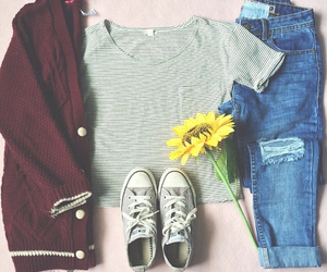 jeans, flowers, and girl image