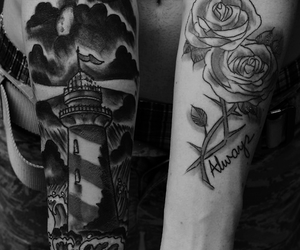 tattoo, black and white, and boy image