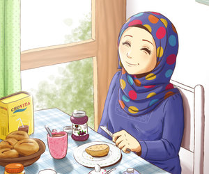 breakfast, hejab, and hijab image